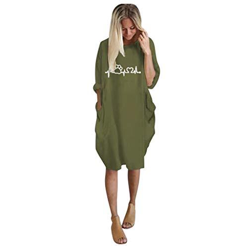 Robe Pullover Femme Grande Taille À Manches Courtes Casual Mini Robe Tunique Longue Col Rond Chemisier avec Poches Chic(D-ArméE Verte,S)