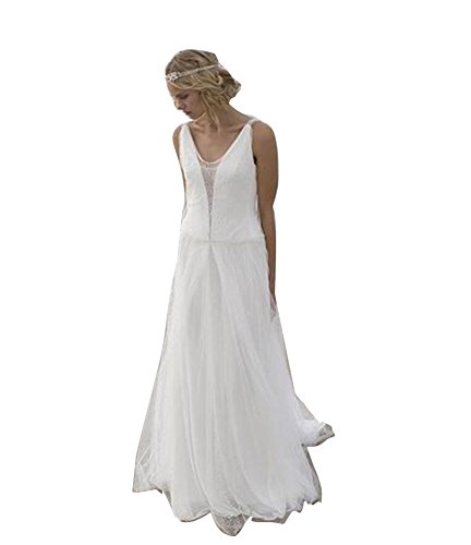 VIKEBRIDAL Damen V-Ausschnitt Neu Chiffon Lang A-Linie Rückenfrei Hochzeitskleid Weiß 46