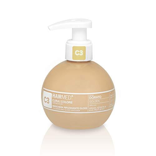 HAIRMED - Cura e Colore - Maschera Riflessante Capelli - Bagno di Colore Senza Ammoniaca - Gloss C3 - Dorato - 200 ml