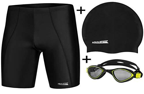 Aqua Speed - Set - Herren Schwimmhose Long + Badekappe MEGA + Schwimmbrille Flex | Jammer | UV | Chlorresistent | Formbeständig | Wirkungsvoll gegen Muskelermüdung,Größe:S, Farbe:01.Long Set - Black