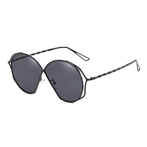 Sonnenbrille Fahren im Freien Dekorative Strand Metall Ozean Objektiv Anti-UV-Augenschutz Frauen Licht Visier Gläser (Farbe: Schwarzer Rahmen voll graue Linse)