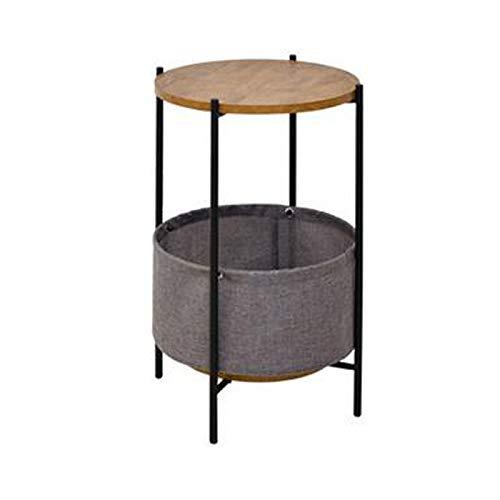 LXZ#Homegift Couchtisch Ablagekorb Multifunktionale Massivholz Runde Couchtisch Doppel Sofa Beistelltisch Stoff Aufbewahrungsbox Telefonschrank, Φ39cm H55cm (Farbe : Braun)