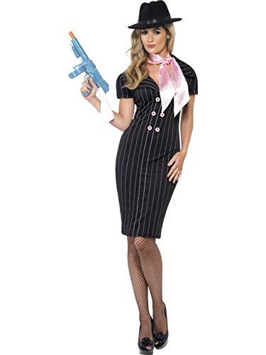 Luxuspiraten - Damen Frauen Nadelstreifen Gangsterbraut Kostüm im 20er Jahre Al Capone Stil mit Bleistift-Kleid und Halstuch, perfekt für Karneval, Fasching und Fastnacht, L, Schwarz