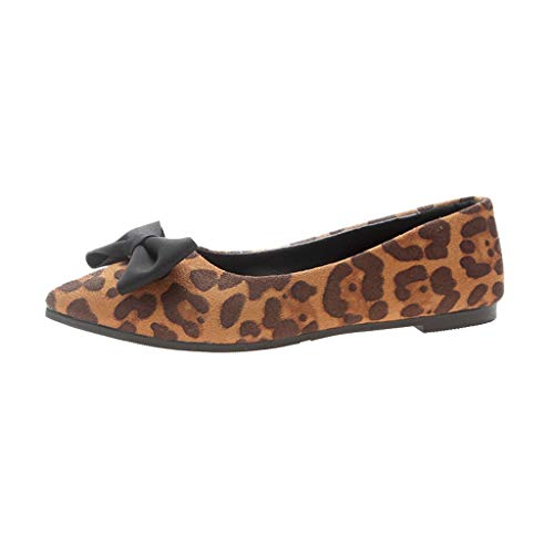 456eb10fd5a9d2 B-commerce Damen Sandalen mit flachem Absatz - Mode Flock Bowknot Leopardo  Shallow Single Flache
