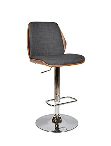 ts-ideen 1 x Tabouret de bar fauteuil repose-pieds tissu gris noyer plaqué cuisine bar salle à manger