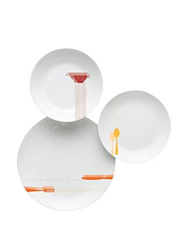 Excelsa Nouvelle Cuisine Servizio da Tavola, Porcellana, Bianco/Nero, 18 Pezzi