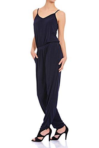Laeticia Dreams Damen Träger Overall Hose Jumpsuit Catsuit Einteiler S M L XL Marineblau