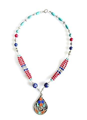 BLUE LAPIS-LAZULI, CORAL & TURQUOISE COLLIER TIBETAN POUR FEMME 925 COLLIER STERLING FASHION EN ARGENT DE TIBETAN SILVER
