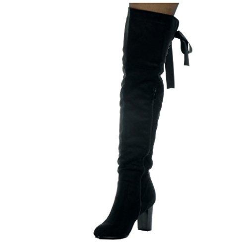 Angkorly - Scarpe da Moda Stivali Alti cavalier flessibile donna Lacci in raso Tacco a blocco tacco alto 8 CM - soletta Foderato di Pelliccia Nero