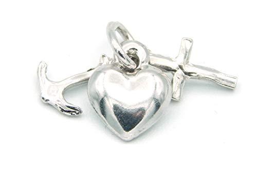 brillare - Mädchen Damen Kettenanhänger Seemannsgrab (Glaube Liebe Hoffnung) 925 Silber rhodiniert