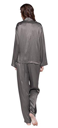 LILYSILK Ensemble de Pyjama en Soie Femme à Manches Longues Vêtements de Nuit 2 Pièces 22 Momme Gris Foncé