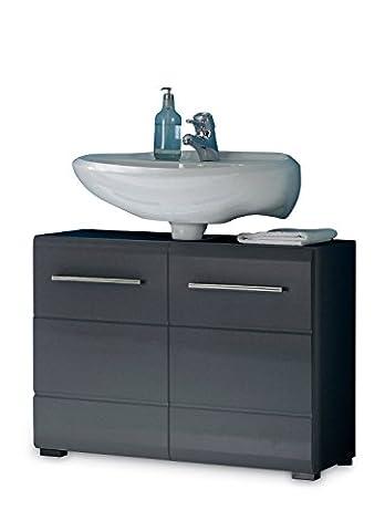 Waschbeckenunterschrank Waschtischunterschrank Unterschrank CALITO 1 | Hochglanz Grau Metallic | 2 Türen