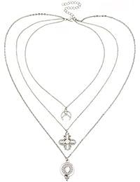 LUREME Vintage Retro Crystal Collar de Cadena Larga de múltiples Capas para Mujeres (nl006187)