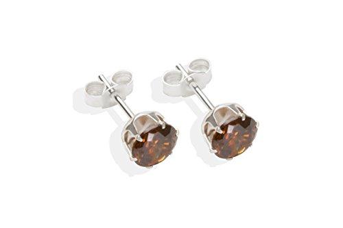 En argent Sterling 925 avec zircones cubiques 6 mm GoldStudEarrings Clous d'oreilles Boîte cadeau Marron