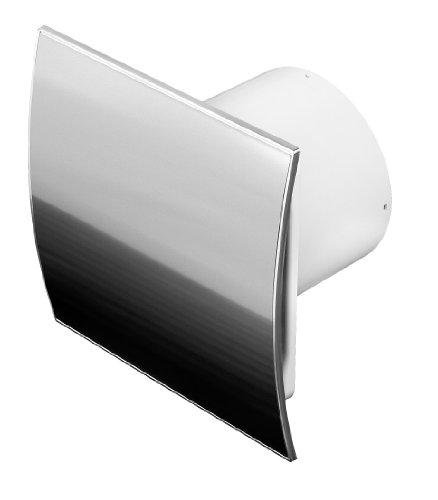 Ventilateur de salle de bains, Acier inoxydable, diamètre: 100mm avec wei de valve et détecteur d'humidité/Hygrostat Minuteur, 10cm