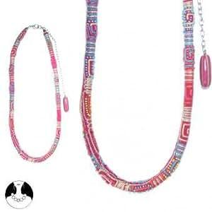 Chaine Tour de Taille 80cm - Métal Argenté Textile et Verre - Ethnique Tribal - Accessoire Indien Bresilien Tissu Perle