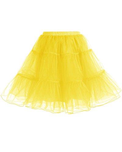 Gardenwed Vintage Damen 1950er Rockabilly Mini Tutu Kleid Retro Petticoat Unterrock Yellow