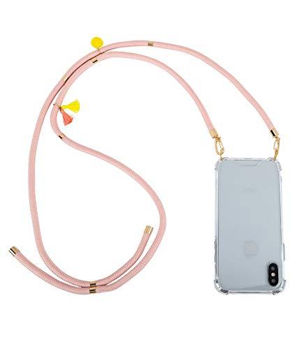 SIX Transparente Handyhülle kompatibel mit iPhoneX/Xs mit rosa Kordeln und goldenen Details zum umhängen (425-591) (Claire Zubehör Halloween)