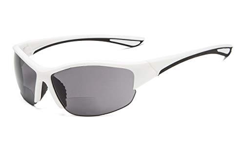 Eyekepper Hälfte-Rahmen Sports Bifokal Sonnenbrille +2.00 Stärke,die Sonnenbrille liest (Weiß Rahmen/Grau Linse)