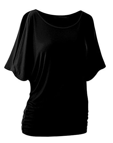 SMITHROAD Damen T-Shirt Fledermaus Batwing Shrit Top Rundhals Ausschnitt Kurzarm Loose Fit Einfarbig Schwarz 02
