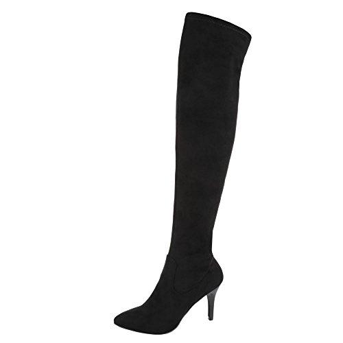 Ital-Design Overknee Stiefel Damen Schuhe Klassischer Stiefel Pfennig-/Stilettoabsatz High Heels Reißverschluss Stiefel Schwarz, Gr 36, - Damen Sexy Kostüm Stiefel