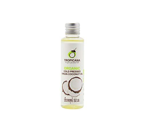 Kokos Extra Virgin Coconut Oil (Tropicana Oil Bio Kokosnussöl Extra Nativ in 4x50 ml Coconut| 100% Vegan Kokosöl fraktioniert | Bio Qualität Nativ und Kaltgepresst | Für HAARE, HAUT, KOCHEN | Organic Cocos | 4x50ml im Packet)