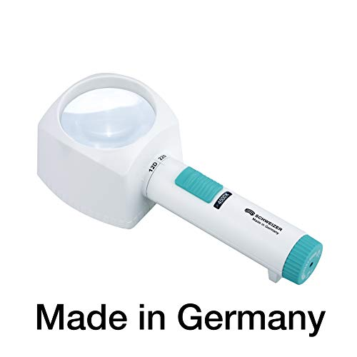 Standlupe - Leselupe mit Ständer und LED Licht, 4500 K neutralweiß, Made in Germany, Batteriebetrieb, 4-fache Vergrößerung (12D), asphär. Linse 70 mm, kontrastreich, SCHWEIZER ÖKOLUX plus