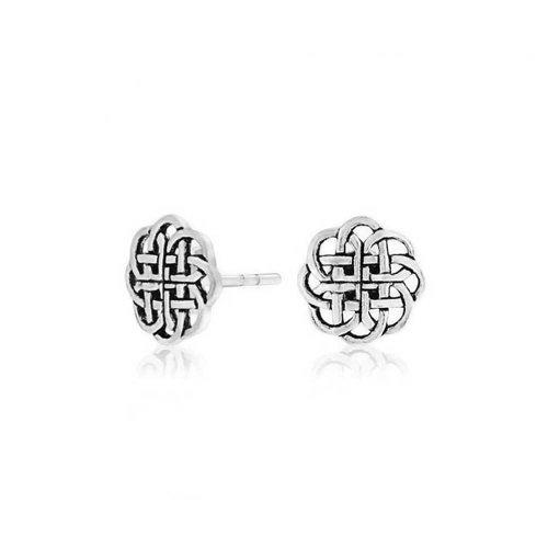 q2q Celtico Sterling Argento Jewelry Bling Scudo Knot 9mm Orecchini Round xzqRXvnXf