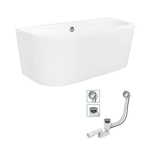 Freistehende Badewanne VISTA 150x75 cm Vorwand-Badewanne Freistehend Acryl Wanne mit Ablauf
