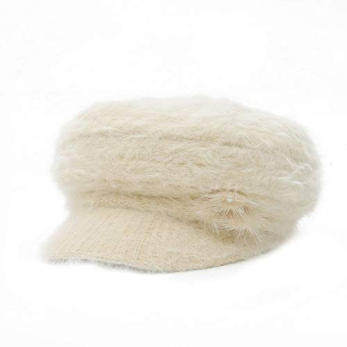 xMxDESiZ Frauen Beret Peaked Cap Winter Solid Color Faux Fur Beading Fluffy Knitted ()