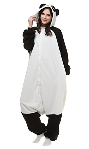 Aivtalk Tier Cartoon Schlafanzug Pyjama Fasching Halloween Kostüm Sleepsuit Jumpsuits Erwachsene Unisex Kigurumi Cosplay Fleece-Overall Tieroutfit - Weiß (Kostüm Jumpsuit Weißer)