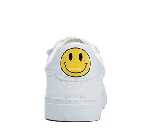 SHFANG Dame Schuhe Einfache Magie Aufkleber Flat Bottom Pu Casual Schuhe Bequeme Bewegung Lächeln Studierende Täglich White
