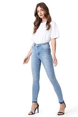 NA-KD - Damen Skinny High Waist Open Hem Jeanshosen Blau