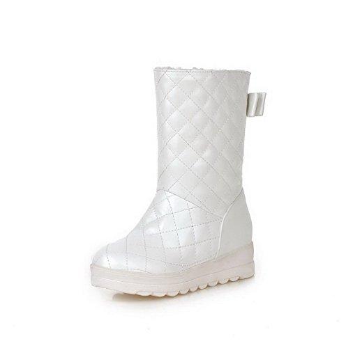 AgooLar Damen Niedriger Absatz Rein Rund Zehe Ziehen auf Stiefel, Weiß, 37