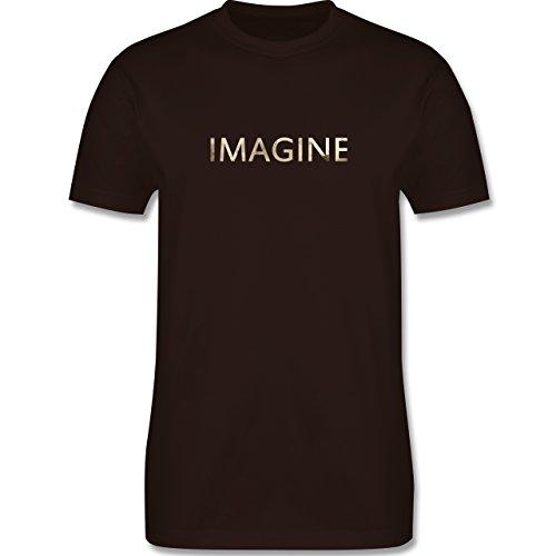 Vintage - Imagine Schriftzug Aquarell - Herren Premium T-Shirt Braun