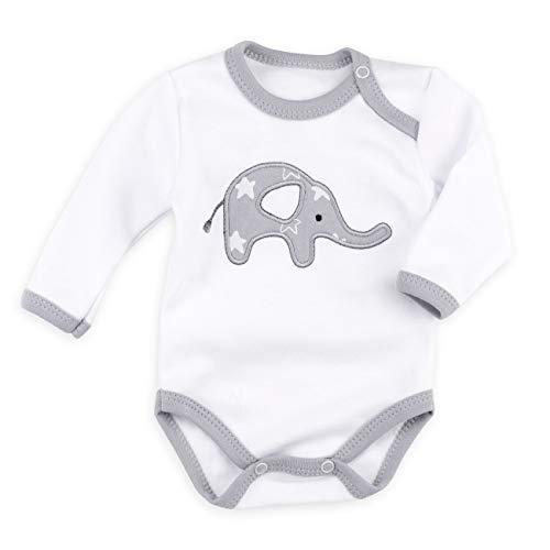 Newborn Body Set (Baby Sweets Baby Langarmbody Unisex weiß grau | Motiv: Little Elephant | Body mit Elefanten-Applikation für Neugeborene & Kleinkinder | Größe 6 Monate (68) ...)