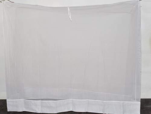 Happy365 Mosquito Net King Size Bed - Cream -6x7 Feet-Poly Cotton Net with Pure Cotton Border on Top and Bottom