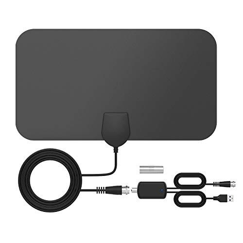 Antenna tv interna, tictid antenna tv digitale da interno, antenna hdtv sottile vhf/uhf/fm, supporta 4k 1080p hd/vhf/uhf con amplificatore del segnale dell'amplificatore per tutti i tipi tv