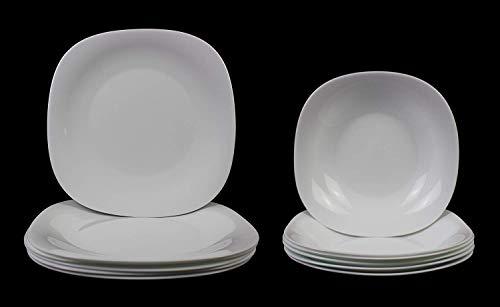 Fitting Gifts Bistro Collection Service de Table Parma Légèrement Carré, Blanc Brillant, avec 6X Assiettes Plates et 6X Assiettes Creuses (12 Pièces)