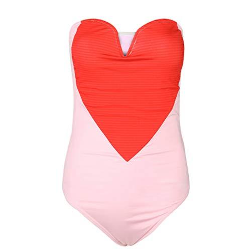 LIGHTBLUE Damen Schulterfrei Lovely Heart Bandeau Badeanzug Bademode Badeanzug, S