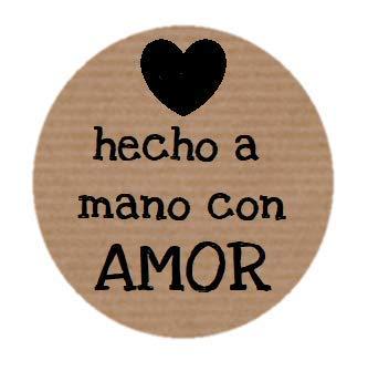 TodoKraft 100 Etiquetas Kraft Hecho Mano Amor