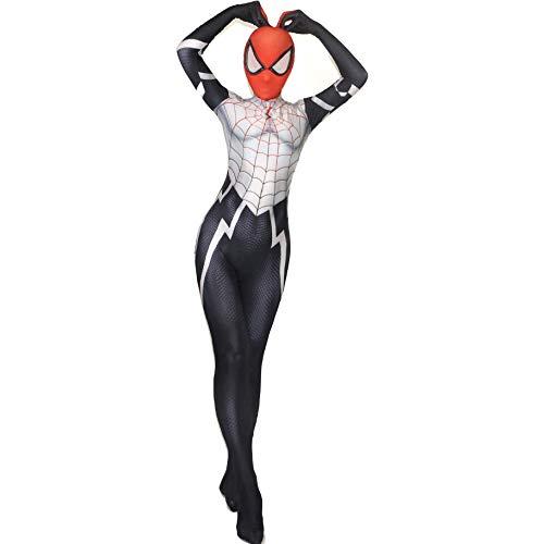 Maskierte Weiß Kostüm - QWEASZER Weiß Maskierte Spider-Man Spandex Overall Kostüm Marvel Avengers Kostüm Zentai Onesie Kleidung Halloween Cosplay Party Body Film Onesies Für Frauen,Spiderman/A-150~155cm