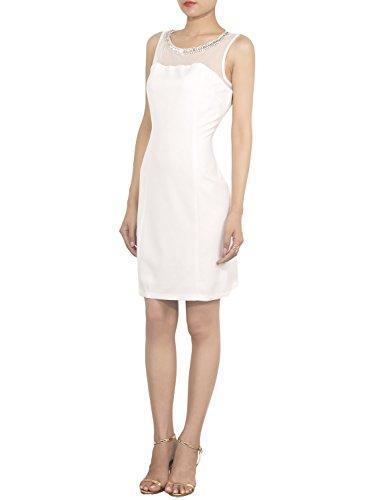 iB-iP Femme Pull De Slim Fit Crayon Pour Le Pure Col Paillet Mini Robe Moulante Blanc