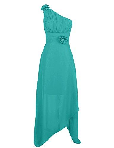 Dressystar Robe femme, Robe soirée, une bretelle, Asymétrique, en Mousseline Turquoise