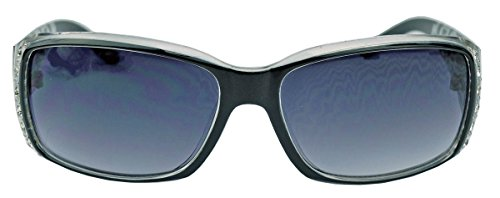 (GIANNI MILANO schmale Damen Sonnenbrille Strass Glitzersteine Designer Look KL34 (Smoke))