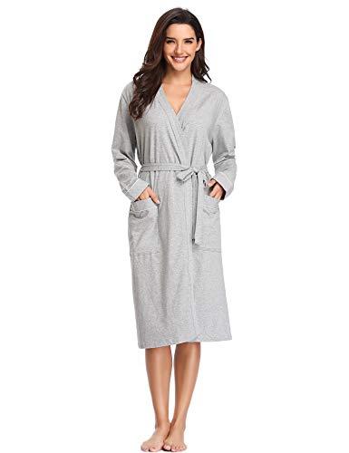 Spa Robe (Lusofie Morgenmantel Damen Bademantel Baumwolle Lange Ärmel Spa Robe V-Ausschnitt Saunamantel mit Gürtel (Grau, XXL))