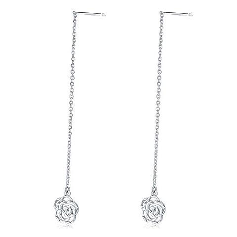 14ct 585Weiß Gold Diamant Schnitt Rose Flower Lange Kette Einfädler Ohrringe Frauen Schmuck (Kette Einfädler Ohrringe)