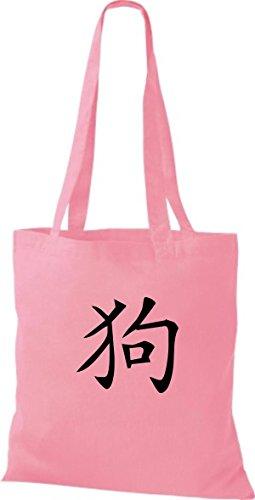 Chinesische pink ShirtInStyle Hund diverse classic Beutel Schriftzeichen Farbe Baumwolltasche Stoffbeutel Uwqxw5Oz