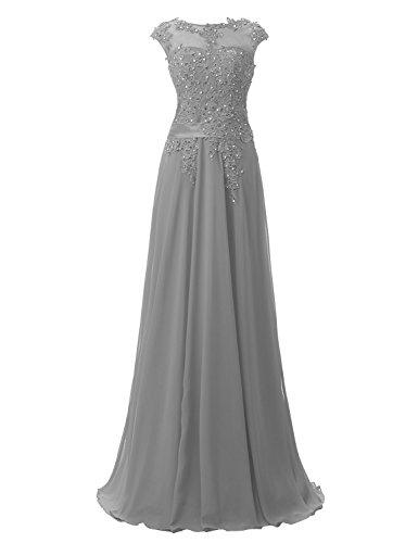 Clearbridal Damen Chiffon Lange Ballkleider Abschusskleider Abendkleider mit Applikation CSD181 Grau Gr.EU46 (Lange Chiffon-kleid Grau)