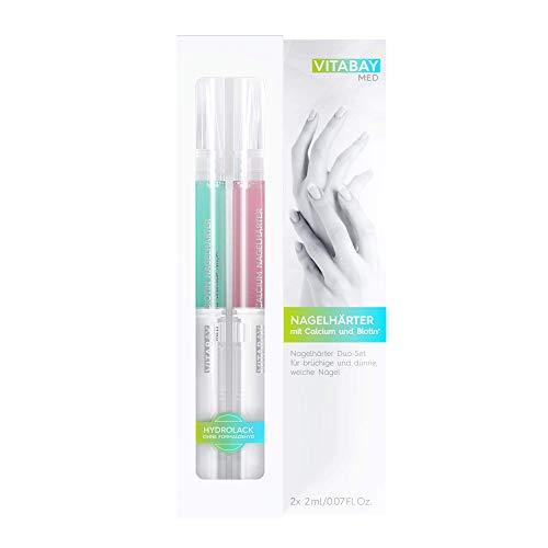 Nagelhärter Duo-Set 2 x 2 ml - mit Calcium und Biotin+ gegen brüchige, dünne, weiche Nägel - für starke, elastische Nägel - Zarte Duo